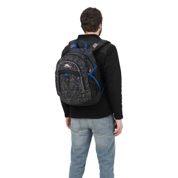 High Sierra Fatboy Backpack in the color Speckle/Black/Vivid Blue.