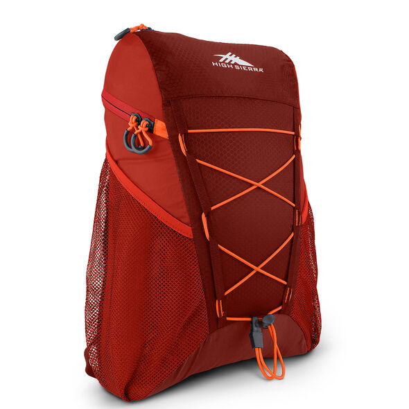 High Sierra Pack-N-Go 2 18L Sport Backpack in the color Brick/Carmine/Red Line.