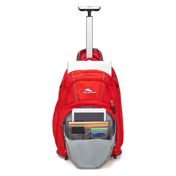 High Sierra Freewheel Wheeled Backpack in the color Crimson/Charcoal.