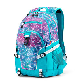 High Sierra Loop Backpack in the color Sequin Facet/Bluebird/White.