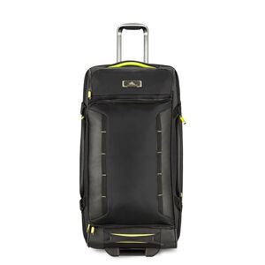 "AT8 32"" Wheeled Duffel Upright in the color Black Zest."