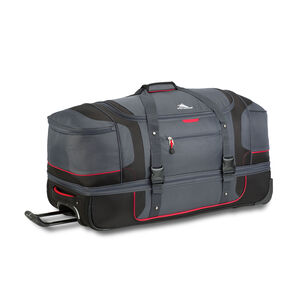"Cermak 32"" Wheeled Drop-Bottom Duffel in the color Mercury/Black/Crimson."