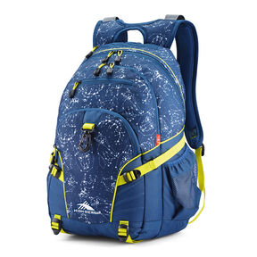 High Sierra Loop Backpack in the color Space Creatures/Rustic Blue/Glow.