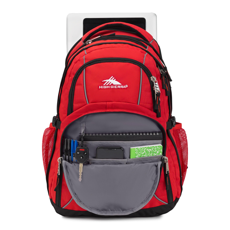 High Sierra Swerve Backpack Black Laptop Sleeve Organizer Headphone Port New
