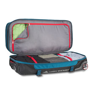 "Selway 34"" Drop-Bottom Wheeled Duffel in the color Peacock/Black/Crimson."