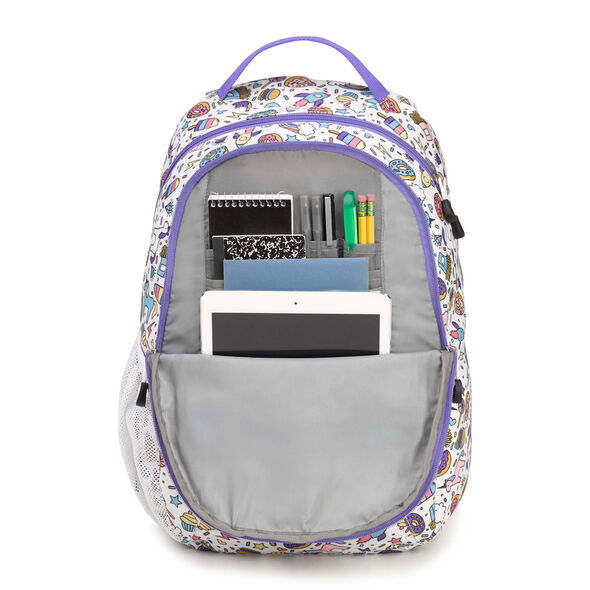High Sierra Curve Backpack in the color Sweet Cakes/ Lavender/White.