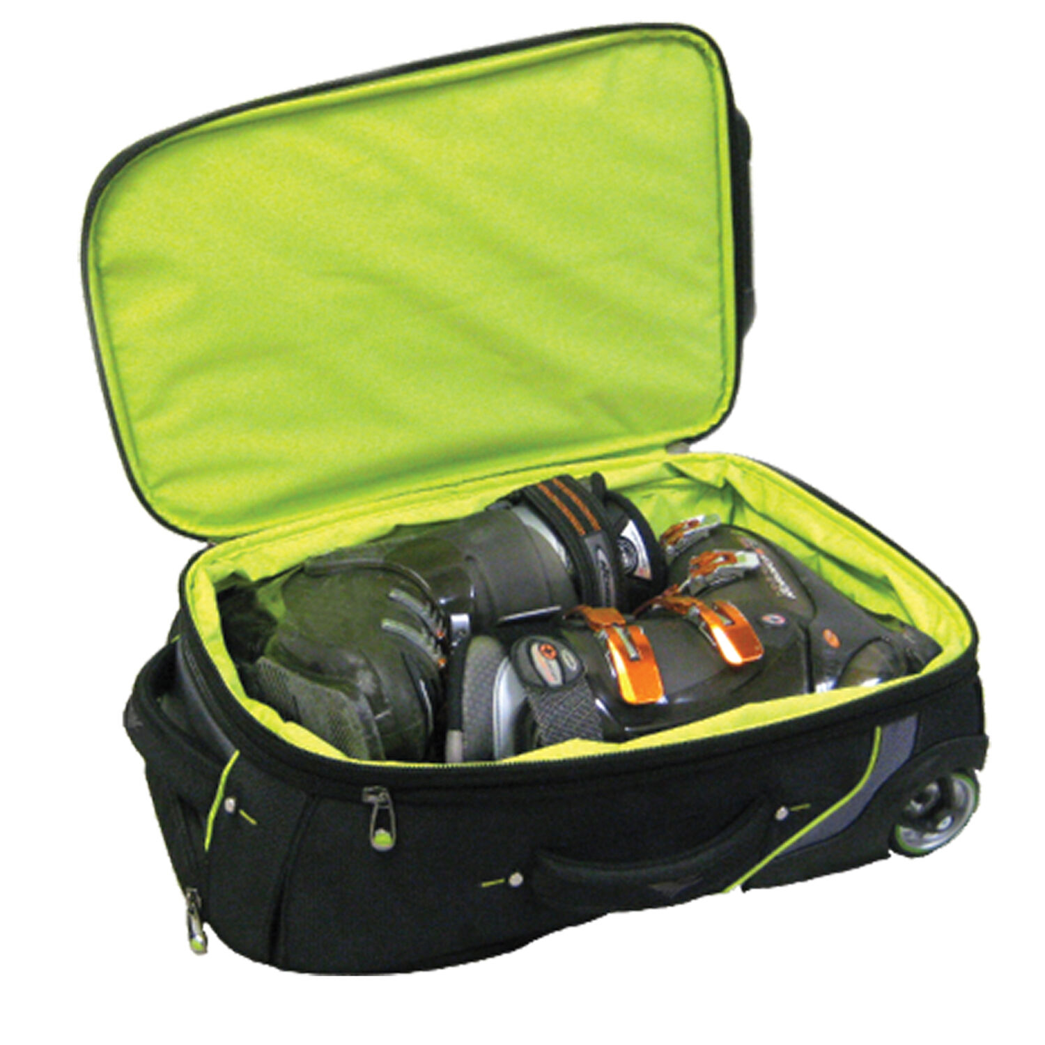 5d9788dcd4 High Sierra Wheeled Carry-On Boot Bag in the color Black Charcoal Chartreuse