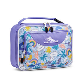High Sierra Single Compartment Lunch Bag in the color Pool Party/Lavender/White.