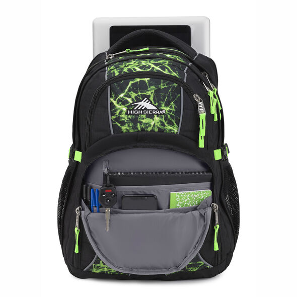High Sierra Swerve Backpack in the color Black/Lime Fire/Lime.