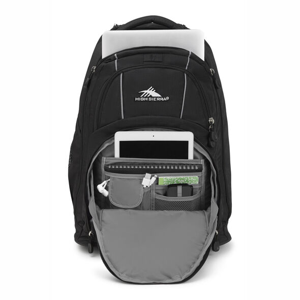 High Sierra Freewheel Wheeled Backpack in the color Black/Black.