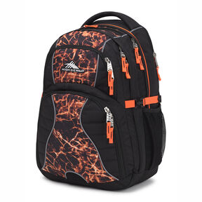 High Sierra Swerve Backpack in the color Black/Fireball/Electric Orange.