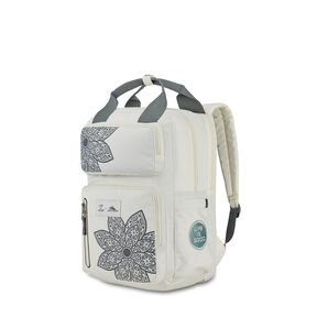 Life Is Good Mindie Backpack in the color Putty White/ Slte Grey Mandala.