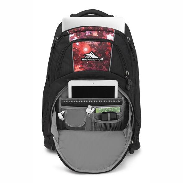 High Sierra Freewheel Wheeled Backpack in the color Black/Space Age.