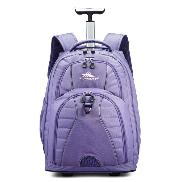 High Sierra Freewheel Wheeled Backpack in the color Purple Smoke.