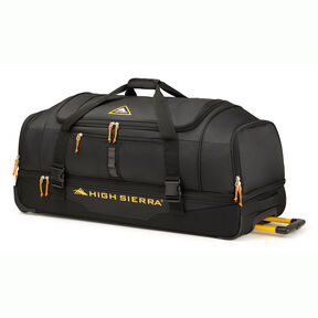 "High Sierra Pathway 36"" Wheeled Drop-Bottom Duffel in the color Black/Gold."