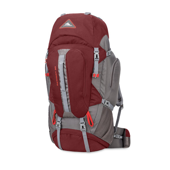 High Sierra Pathway 90L Pack in the color Cranberry/Slate/Redrock.