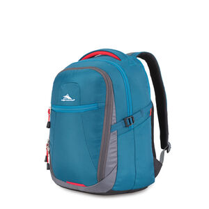 Decatur Computer Backpack in the color Peacock/Mercury/Crimson.