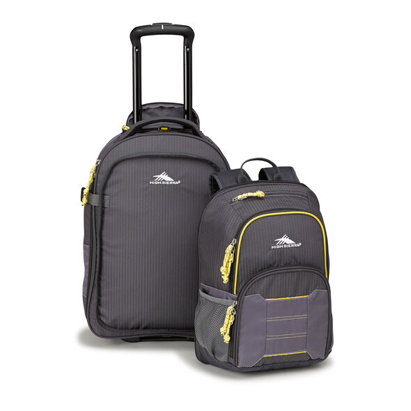 High Sierra Ultimate Access 2.0 Carry-On Wheeled Backpack with Removable Daypack in the color Mercury/Charcoal/Yell-O.