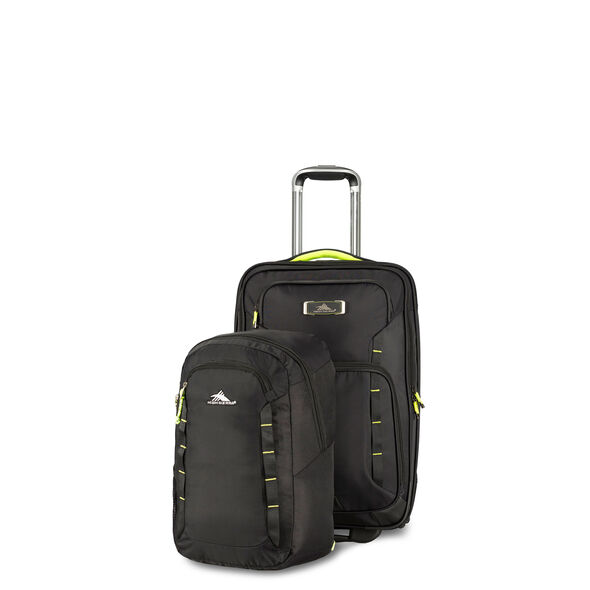 High Sierra AT8 Wheeled Carry-on with Pack N Go Backpack in the color Black Zest.