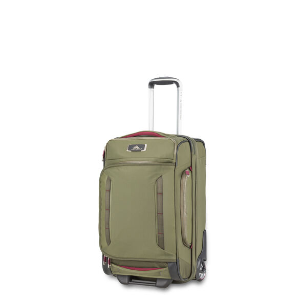High Sierra AT8 Carry-On Wheeled Duffel Upright in the color Olive/Cranberry.