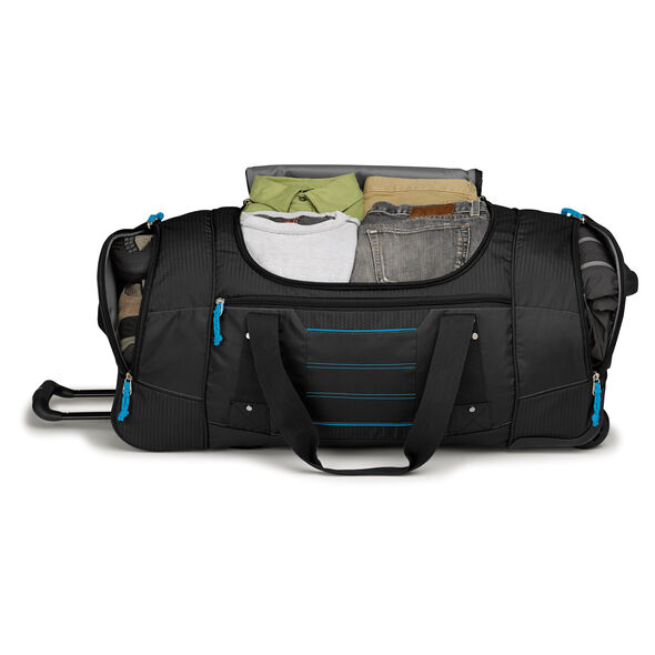 """High Sierra Ultimate Access 2.0 30"""" Wheeled Duffel in the color Black/Blueprint."""