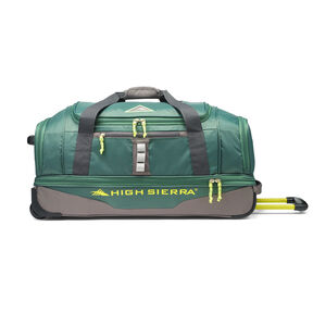 "High Sierra Pathway 28"" Wheeled Drop-Bottom Duffel in the color Pine/Slate/Chartreuse."