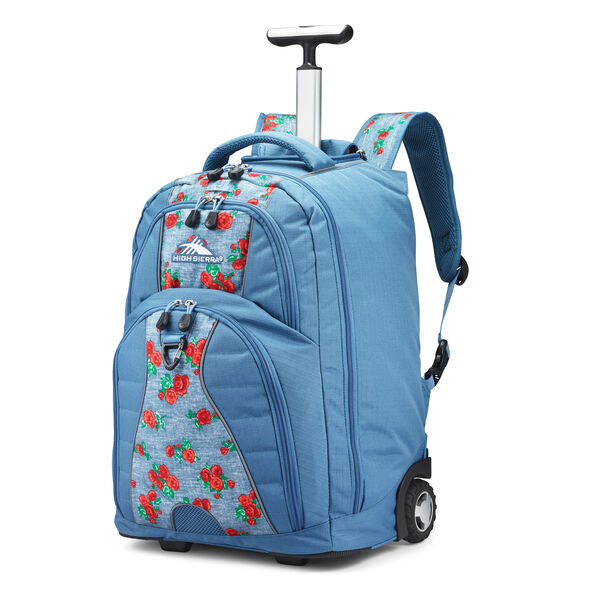 High Sierra Freewheel Wheeled Backpack in the color Denim Rose/Graphite Blue.