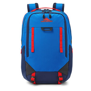 High Sierra Litmus Backpack in the color Vivid Blue/Flame Red.