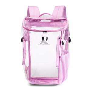 Clear Toploader Backpack in the color Iced Lilac.