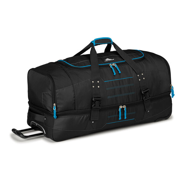 """High Sierra Ultimate Access 2.0 36"""" Drop-Bottom Wheeled Duffel in the color Black/Blueprint."""
