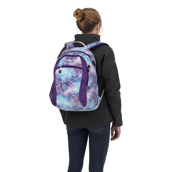 High Sierra Curve Backpack in the color Flower Daze/Deep Purple/White.