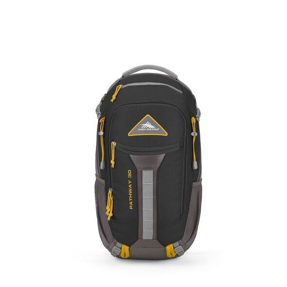 High Sierra Pathway 30L Pack in the color Black/Slate/Gold.
