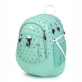 High Sierra Fatboy Backpack in the color Tri Geo/Aquamarine/White.