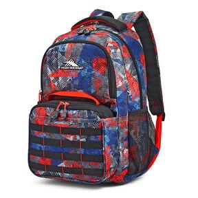 High Sierra Joel Lunch Kit Backpack in the color Urban Mesh/Black/Redline.