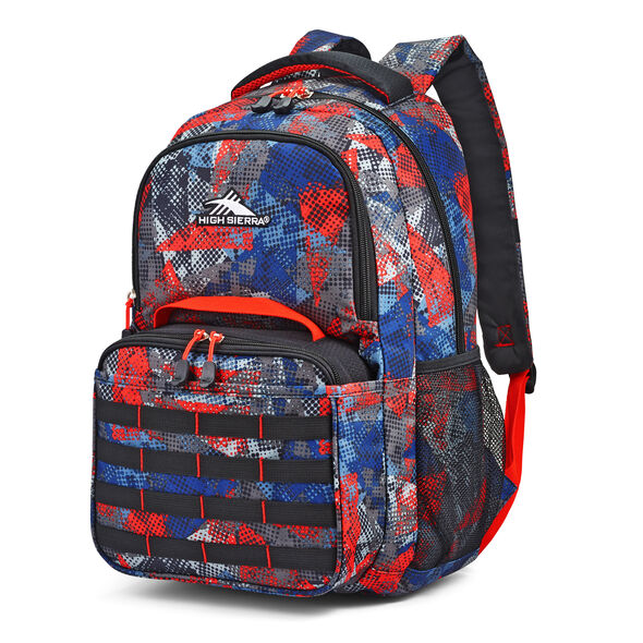 High Sierra Joel Lunch Kit Backpack in the color Urban Mesh/Black/Redline.