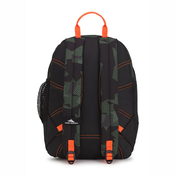 High Sierra Mini Fatboy Backpack in the color Shattered Camo/Black/Electric Orange.