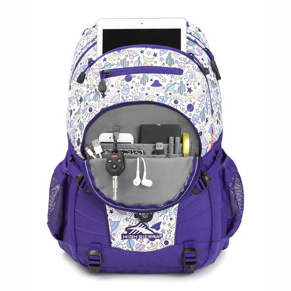 High Sierra Loop Backpack in the color Roswell UFO/ Deep Purple.