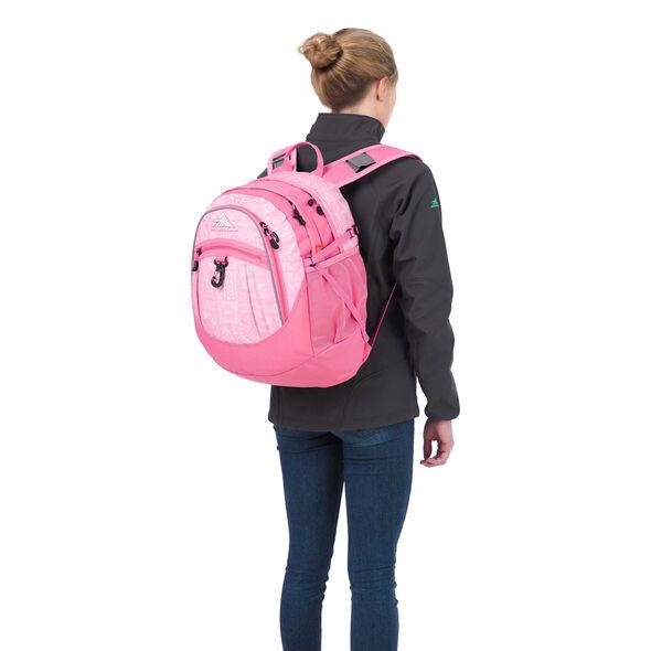 High Sierra Fatboy Backpack in the color Block Print/ Pink Lemonade.