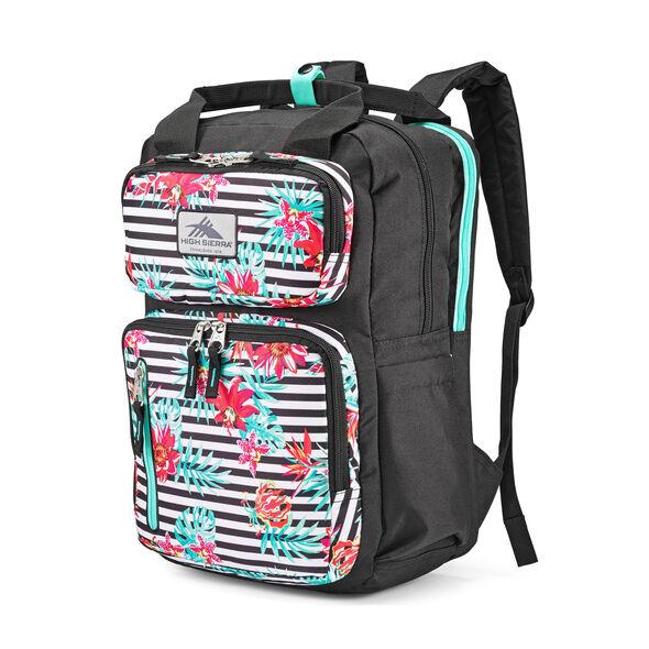 High Sierra Mindie Backpack in the color Tropical Stripe/Black/Aquamarine.