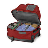 High Sierra Ultimate Access 2.0 Carry-On Wheeled Backpack with Removable Daypack in the color Brick Red/Mercury/Silver.