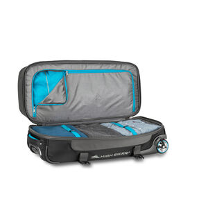"Selway 28"" Drop-Bottom Wheeled Duffel in the color Mercury/Black/Pool."