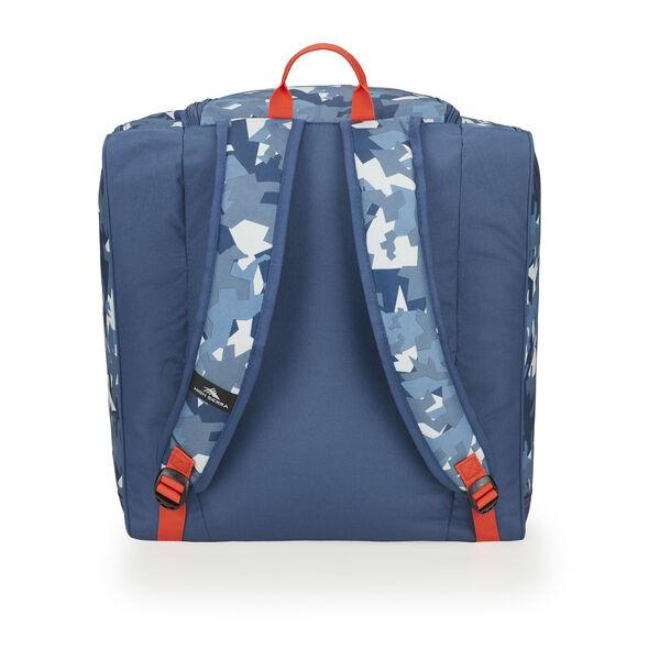 High Sierra Trapezoid Boot Bag in the color Razor Camo/Rustic Blue/Redline.
