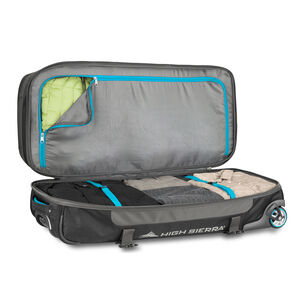 "Selway 34"" Drop-Bottom Wheeled Duffel in the color Mercury/Black/Pool."