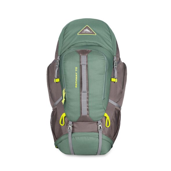 High Sierra Pathway 70L Pack in the color Pine/Slate/Chartreuse.