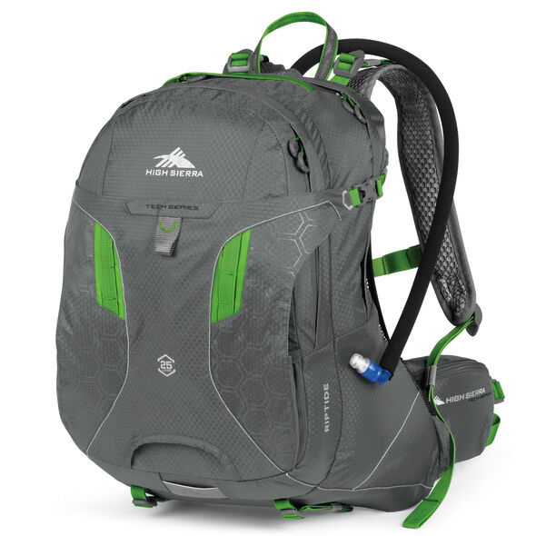 High Sierra Riptide 25L Hydration Pack in the color Charcoal/Kelly.