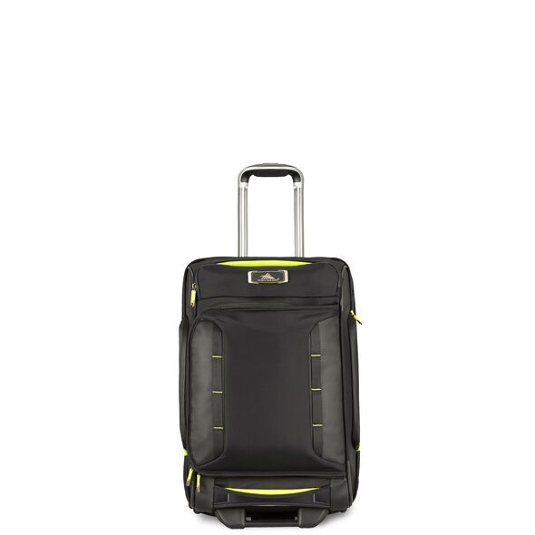 High Sierra AT8 Carry-On Wheeled Duffel Upright in the color Black Zest.