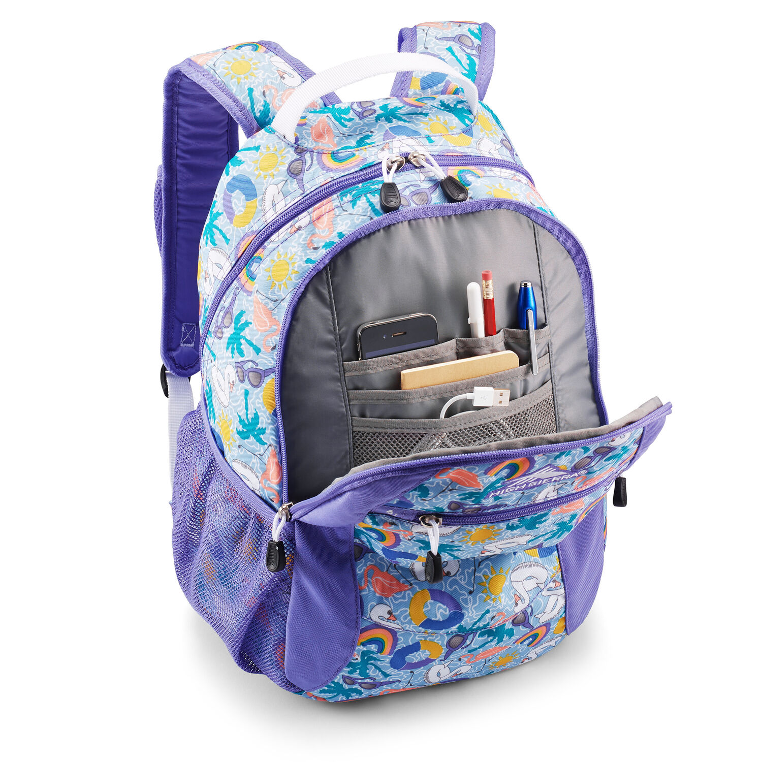 32b9d5fca High Sierra Curve Backpack in the color Pool Party/Lavender/White.