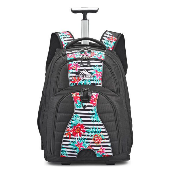 High Sierra Freewheel Wheeled Backpack in the color Tropical Stripe/Black.