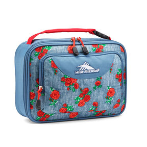 High Sierra Single Compartment Lunch Bag in the color Denim Rose/Graphite Blue/Crimson.