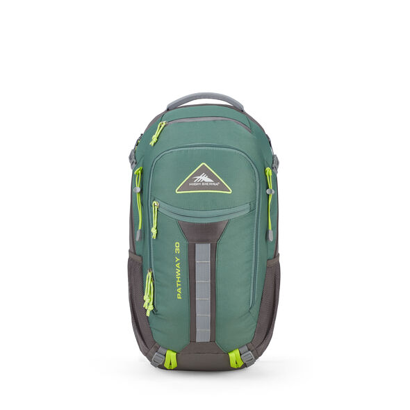 High Sierra Pathway 30L Pack in the color Pine/Slate/Chartreuse.